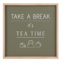 Déco murale vert kaki imprimée 28x28 Tea Time