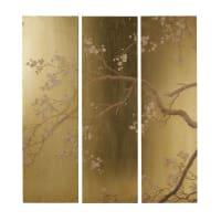 MEI - Decoração de parede tríptico dourado com estampado floral 108x120
