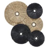 TONKA - Decoración de pared de fibra vegetal negra y beige 120x109