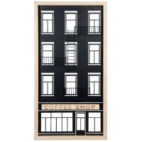 COFFEE SHOP - Decorazione da parete edificio in platano e metallo nero 31x60 cm