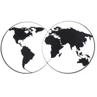 CLEVELAND - Decorazione da parete mappa del mondo in metallo nero 143 cm x 79 cm