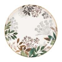 CASSANDRE - Set van 6 - Dessertbord van aardewerk met wit, groen en rood plantenmotief