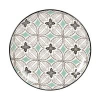 MELIDES - Set van 6 - Dessertbord van gres met blauwgrijze, groene en witte grafische motieven
