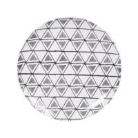 ULRIK - Set van 6 - Dessertbord van gres met grijze, zwarte en ecru grafische motieven