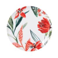 Dessertteller aus weißem Porzellan mit Blumendruckmotiv Hibiscus