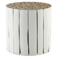 wooden side table in white D 41cm Didda