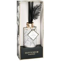 BLACK AND GOLD - Difusor em vidro pintado branco, perfume Jungle Oasis 100 ml