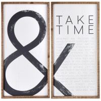 TAKE TIME - Díptico con estampado de abeto de color crudo y gris antracita 73x73 cm