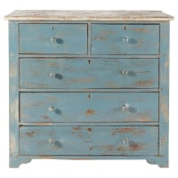 Distressed mango wood chest of drawers in blue W 94cm Avignon