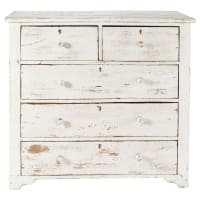 Distressed mango wood chest of drawers in white W 94cm Avignon