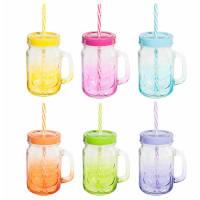 Doos met 6 potten van gekleurd glas met metalen houder Arc En Ciel