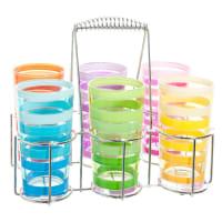 Doos met 6 veelkleurige glazen + metalen plateau Tourbillon
