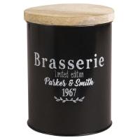 Dose aus schwarzem Metall mit Deckel Brasserie
