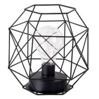 Draadlamp van zwart metaal