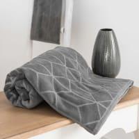 Drap de bain en coton anthracite à motifs 100x150 Op Art