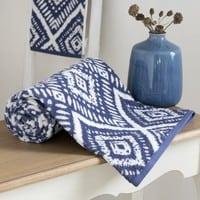 Drap de bain en coton bleu motifs graphiques 100x150 Indigo