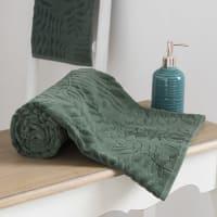 Drap de bain en coton vert motifs feuilles 100x150 Harmonia