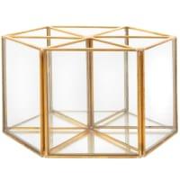 LONDON - Drehbarer Stiftehalter aus Glas und goldfarbenem Metall