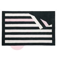 Driekleurig wollen tapijt met streepjesmotief 140x200 Chantal Thomass