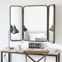 Drieledige spiegel van zwart metaal 114x81 Taylor