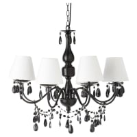 Drop Bead Chandelier in Black Metal with White Shades Félicie