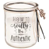 Duftkerze im Glasbehälter, bedruckt Be Authentic
