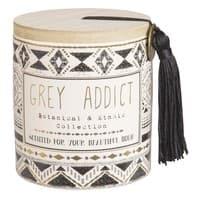 Duftkerze im Keramikgefäß mit Ethno-Motiven Grey Addict