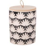 Duftkerze im schwarzen Keramikgefäß mit Palmblatt-Druckmotiv
