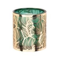LINDIA - Duftkerze in grünem Glasgefäß mit goldfarbenem, gestanztem Metall