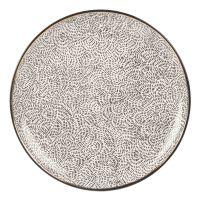 Earthenware Dinner Plate with Black Print Yoko