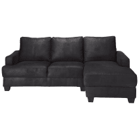 Ecksofa 3-/4-Sitzer aus Microsuede mit Ecke rechts, schwarz Philadelphie