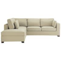 Ecksofa 5-Sitzer aus Baumwolle, graubeige Milano