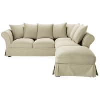 Ecksofa 6-Sitzer aus Baumwolle, graubeige Roma