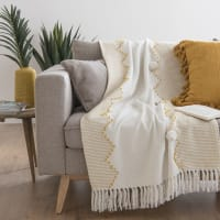 Ecru and Yellow Blanket with Pom Poms 160x120 Volos
