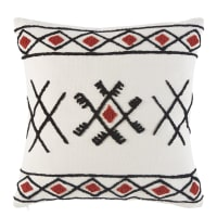 Ecru Berber Cushion with Graphic Embroidery 45x45 Noums