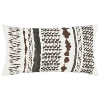 HOPLAND - Ecru, charcoal grey and brown cushion cover in printed washed linen and cotton 30x50cm