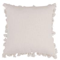 LIMA - Ecru Cotton Cushion with Pom Poms 50x50