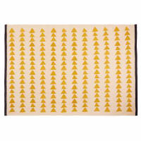 Ecru Cotton Rug with Yellow Motifs 180x120 Naomi
