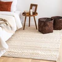 BLIDA - Ecru en goudkleurig katoenen tapijt 140x200