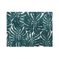 Ecru getuft tapijt met groene blaadjesprint 140x200 Belem