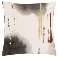 BAKKA - Ecru, goudkleurige, antracietgrijze en karamelkleurige kussenhoes uit kztoen en linnen 40 x 40 cm