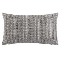 FUGLAU - Ecru, grey and blue-grey cushion cover 30x50cm