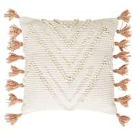 ABONA - Ecru kussen van geweven katoen met oudroze kwastjes 45 x 45 cm
