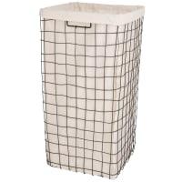 Ecru linen and black metal mesh laundry basket