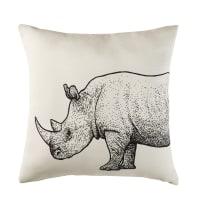 Ecru Outdoor Cushion with Black Rhinoceros Print 45x45 Sundara