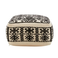 Ecru Pouffe with Black Print