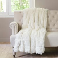 VALTHORENS - Ecru White Faux Fur Blanket 180x240