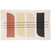 SEMARANA - Ecru, yellow, orange, charcoal grey and beige cotton rug with print 90x150cm