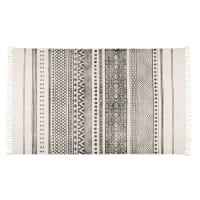 Ecrufarbener Baumwollteppich mit schwarzen Motiven 140x200 Vizca