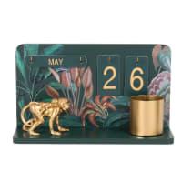 Eeuwigdurende kalender uit groen metaal en print van tropische bladeren